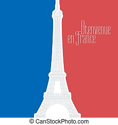 France vector illustration with French flag colors and Eiffel tower