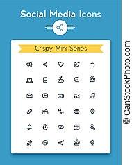 Vector line social media tiny icon set