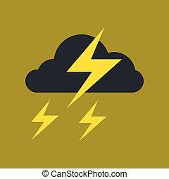 flat icon on stylish background lightning cloud