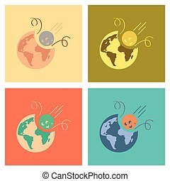 assembly flat icons nature meteorite earth