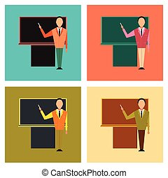 assembly flat icons male teacher