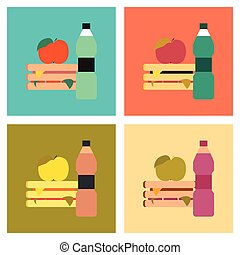assembly flat icons sandwich apple water