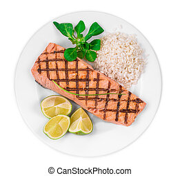 Grilled salmon fillet with risotto. Isolated on a white...