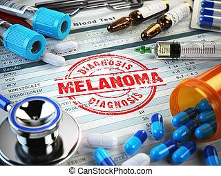 melanoma, diagnóstico, selo, Estetoscópio, siringa, sangue,...