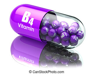 Vitamin B4 capsule or pill. Dietary supplements. 3d...
