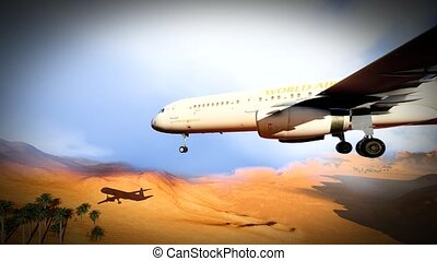 Sandstom over Sahara Desert - Flight over Sahara Desert...