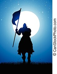 Knight Silhouette at Full Moon - Silhouette illustration of...