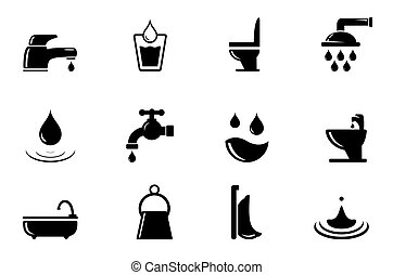 set of water and bathroom object - set of black water and...