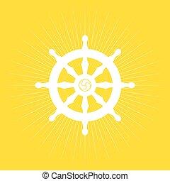 Dharma Wheel of Buddhism symbol.