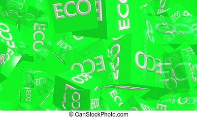 Flying green cubes with inscription ECO