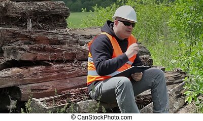 Worker sitting and thinking