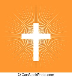 Protestant Symbol and Color - Cross on light burst...