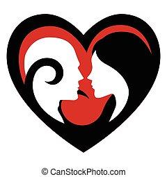Woman Man Face in Heart Shape