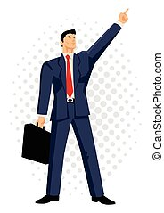 Businessman with briefcase pointing - Cartoon illustration...