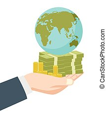 Hand holding money and earth globe - Graphic illustration of...
