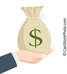 Money Bag - Illustration of a businessman hand holding a bag...