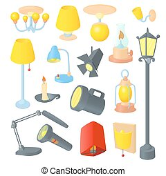 Lighting icons set , cartoon style - Lighting icons set in...