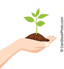 Hand holding a dirt and young tree - Illustration of a hand...