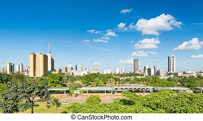 Nairobi Skyline And Uhuru Park - Timelapse sequence of the...