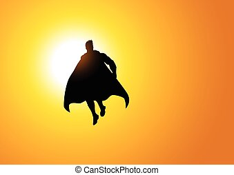 Superhero flying against the sun