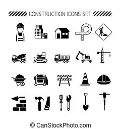 Construction Objects Silhouette Icons Set - Black White,...