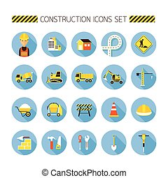 Construction Objects Flat Icons Set - Worker, Equipment,...