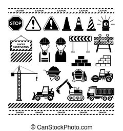 Construction Objects Silhouette Set - Black White,...