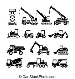 Construction Vehicles Objects Silhouette Set - Side View,...