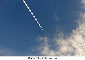 sky with clouds - photographed close-up of a blue sky with...
