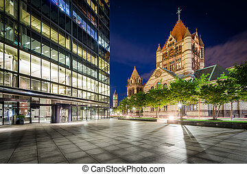 The John Hancock Tower and Trinity Church at night, at...
