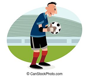 Goalie with ball - Vector illustration of a goalie with ball