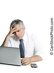 angry sad senior gray hair businessman laptop computer hand...