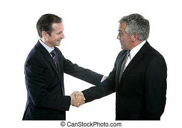adult businessman handshake expertise portrait dark suit...