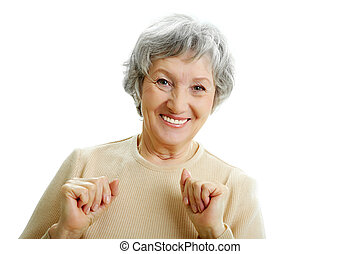 Grey-haired woman - Portrait of happy grey haired woman...