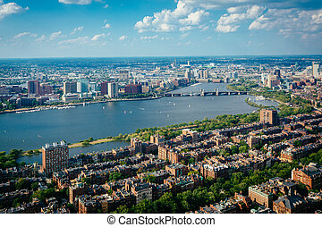 View of Back Bay and the Charles River, in Boston,...