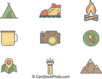 Summer and winter mountain explorer camp icons in flat style...
