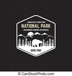 Stamp for national park, outdoor camp. Tourism hipster style...