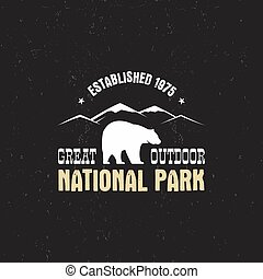 Stamp for national park, camp. Tourism hipster style patch,...