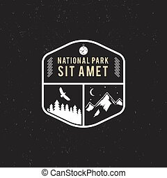 Stamp for national park, mountain camp. Tourism hipster...