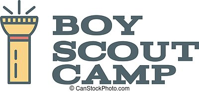 Boy scout camp logo design with typography and travel...