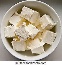 Feta Cheese - close-up traditional greek product - cubed...