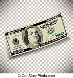 A 100 dollar bill on a transparent background