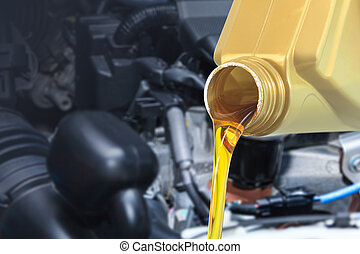Motor oil pouring, Pouring oil lubricant motor car from...