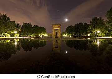 The Egyptian Temple of Debod in Madrid, Spain at night