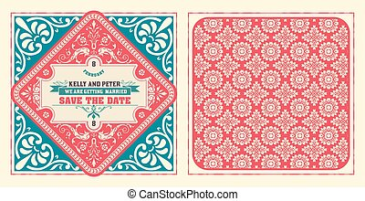 Retro wedding card Vector by layered