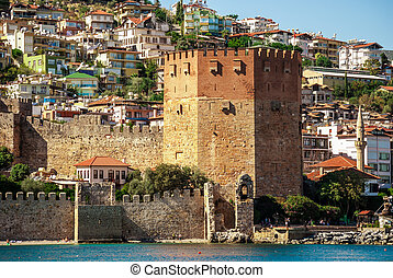 castle of Alanya - Kizil Kule Red Tower in Alanya, Antalya,...