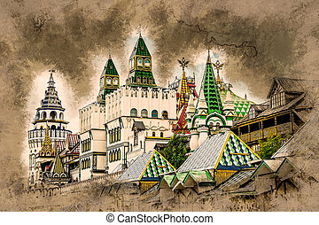 Izmaylovo Kremlin in Moscow, Russia. Vintage painting,...