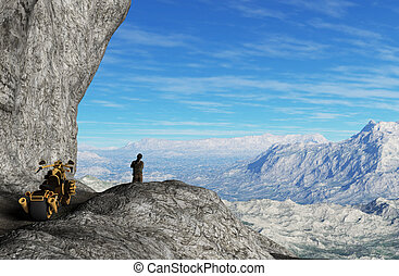 Man with motorbike on the top of mountains - 3D rendering