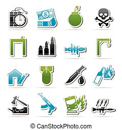 terrorism icons - terrorism and gangster equipment icons -...