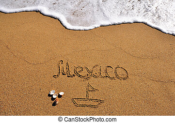 Mexico sign in the sand beach